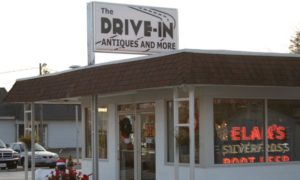Drive In Antiques Storefront with Elams Root Beer sign